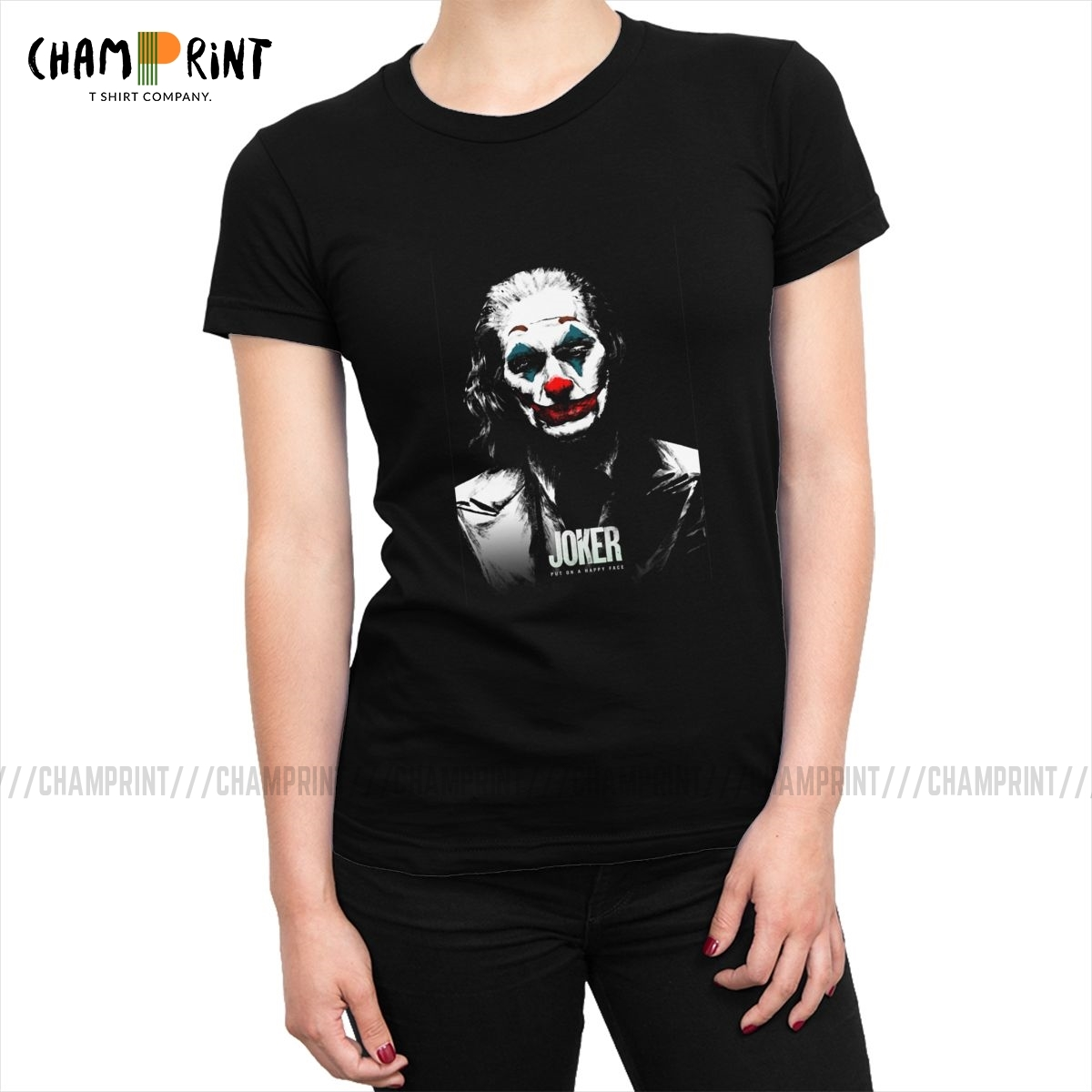 Joker <font><b>Tee</b></font> Shirt Tops Joaquin Phoenix <font><b>2019</b></font> Movie <font><b>Women</b></font> T-shirt Arthur Fleck Clown Fashion Tshirt Hip Hop <font><b>Graphic</b></font> Clothing Female image