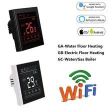 Termostato inteligente WiFi para calefacción de suelo eléctrico, controlador de temperatura de 95 ~ 240V, funciona con Alexa y Google Home
