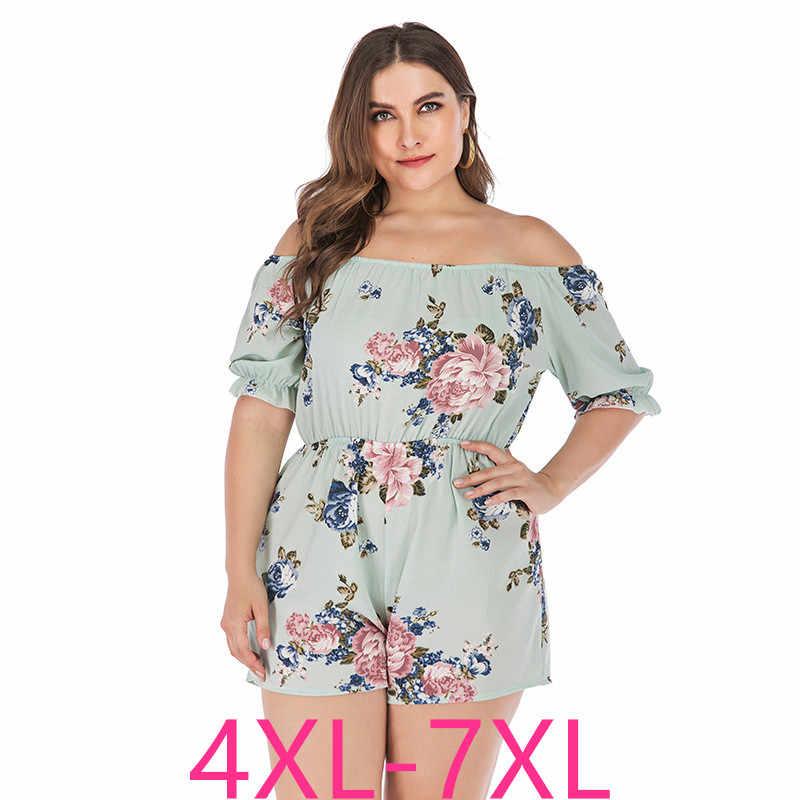 2019 mode sommer plus größe sets für frauen große off schulter lose beiläufige floral blume kurze overalls blau 4XL 5XL 6XL 7XL