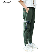 SINAIRSOFT Brand Skinny Cargo Pants Mens Drawstring Waist Ankle-Length Reflective Strip Male Streetwear Summer Trousers