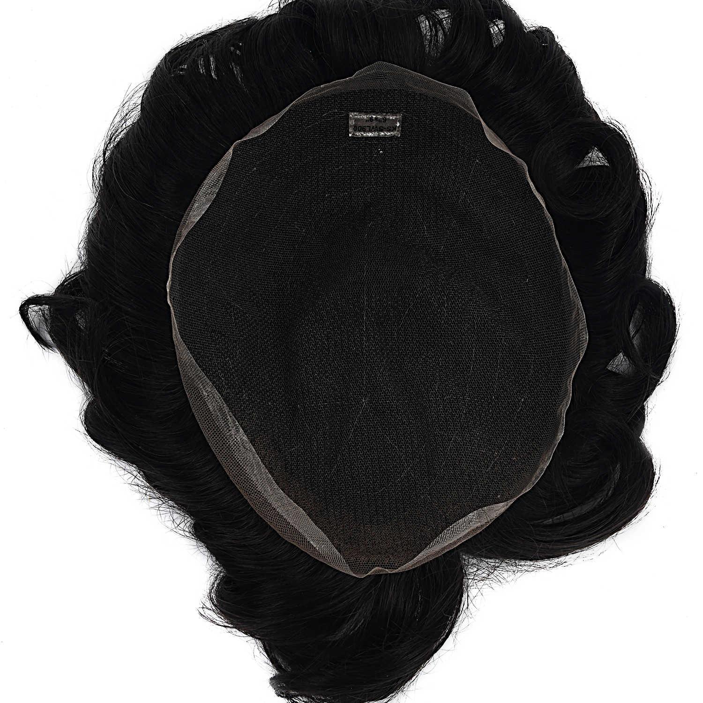 MW mężczyźni szwajcarska peruka koronkowa peruka Remy ludzkie kawałki włosów Natural Black 6 cali 150% gęstość Topper peruki FedEx szybka dostawa