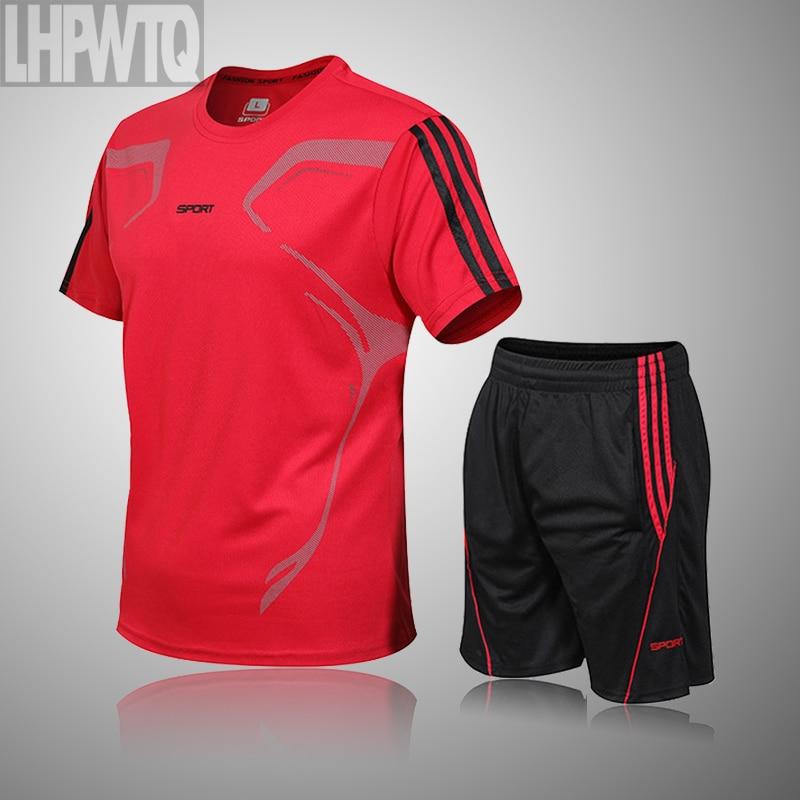 Brand Men's Sportswear Kit Short Sleeve Sports Sport Shirt Men Running 2pcs Suit For Soccer Gym Fitness Men T-Shirts+Shorts Sets 2