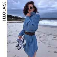 Ellolace Turtle neck Elegant Knitted Dress Female Sweater White Long Sleeve Loose Casual Fashion Autumn Winter Teal Vestidos