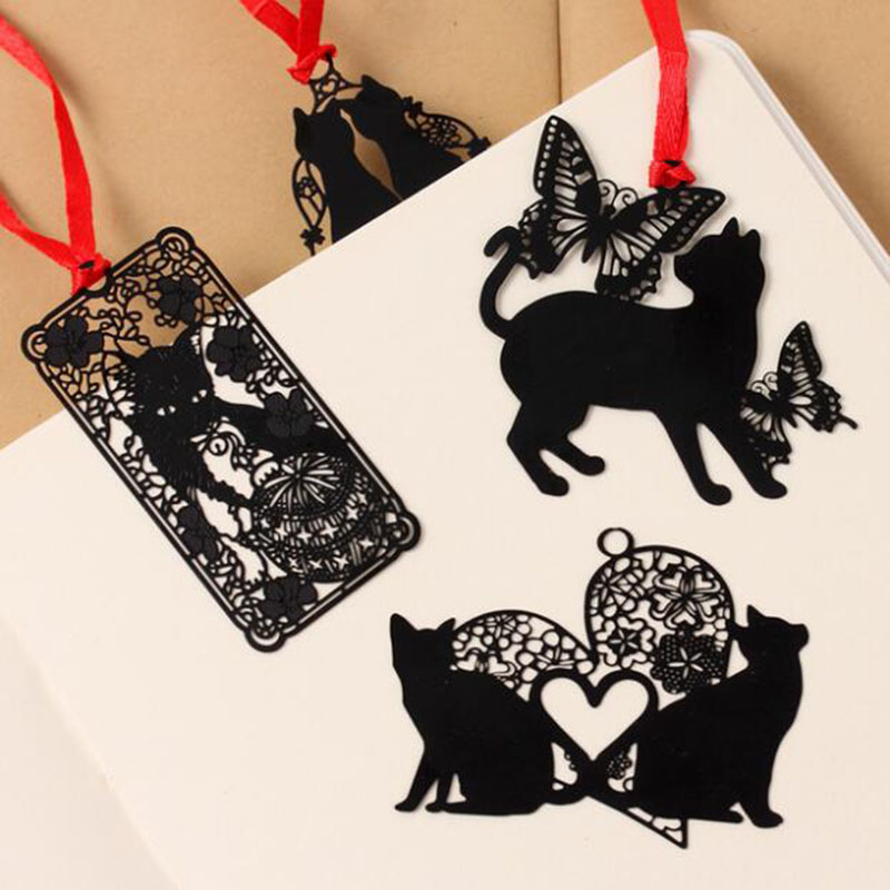 Novelty Cute Kawaii Creative Metal Bookmark Black Cat Book Paper Holder Student Gift Office Korea Stationery School Supplies