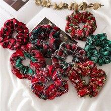 Рождественские резинки для волос с принтом снега, рождественские эластичные резинки для волос для женщин, резинки для волос, аксессуары для волос, держатели для конского хвоста