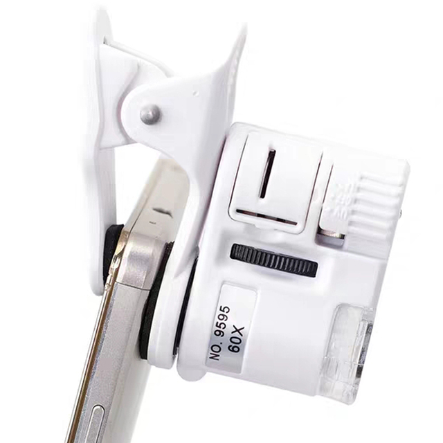 60X דיגיטלי מיקרוסקופ מצלמה עבור טלפון סלולרי עם LED אור טלפון אוניברסלי נייד מגדלת זכוכית מאקרו עדשת זום מצלמה קליפ