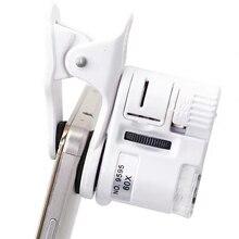 60X цифровой микроскоп камера для сотового телефона с Светодиодный Светильник Универсальный мобильный увеличительное стекло макрообъектив зум Камера клип