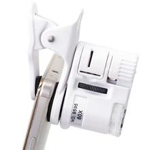 Cámara de microscopio Digital para teléfono móvil 60X, con luz LED, Universal, móvil, lente Macro, Zoom, Clip de cámara