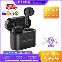 BlitzWolf TWS BW-FYE9, inalámbricos por 5.0 compatible con Bluetooth, auriculares de media oreja con reducción de ruido DSP y baja latencia para videojuegos inalambricos gaming cascos con microfono for iOS Android