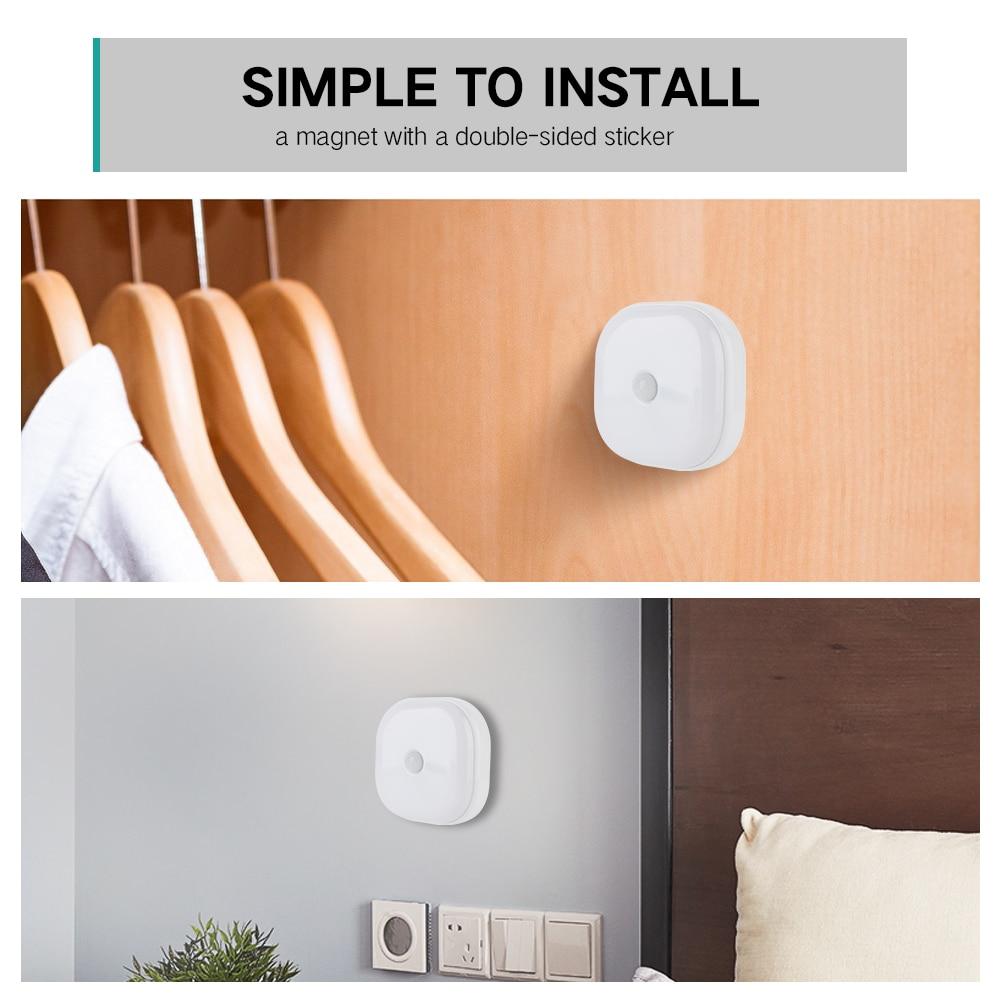 Image 5 - 10 LEDs PIR Motion Sensor Night Light Lamp for Bedroom Kitchen Magnetic Closet Cabinet Light Wireless Corridor Stair Light-in LED Night Lights from Lights & Lighting