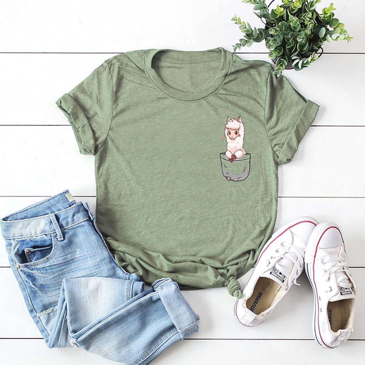 Pocket Alpaca Print Women Cotton T Shirt Short Sleeve T-Shirt Female Casual Tops Tee Funny T Shirts Camisetas