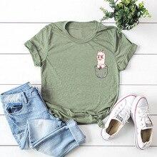 Pocket Alpaca Print Women Cotton T Shirt Short Sleeve T-Shirt Female Casual Tops
