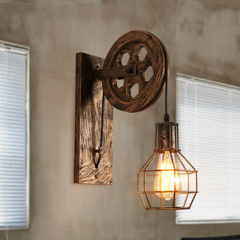 Industrial Wall Lamp Vintage Led Wall Lights for Home Retro Vanity Light Pulley Iron Living Room Bedroom Lamp Restaurant Bar E27