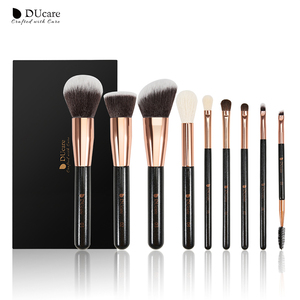 Image 1 - Набор кистей для макияжа DUcare, 9 шт., профессиональные кисти из козьей шерсти, основа пудра Контур, тени для век, искусственные