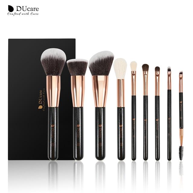 Набор кистей для макияжа DUcare, 9 шт., профессиональные кисти из козьей шерсти, основа пудра Контур, тени для век, искусственные