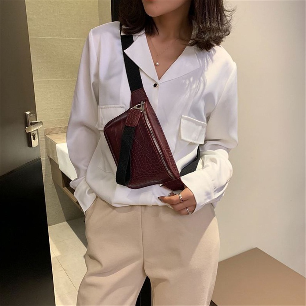 Women Waist Bag Crocodile Multicolor Messenger Chest Bag Clutch Female Pu Leather Handbag Cross Body Bag High Quality Fashion