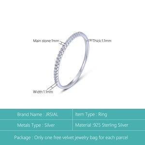 Image 2 - Jrsial 925 prata esterlina jóias zircão anel coreano moda anel ultra estreito fino simples anel