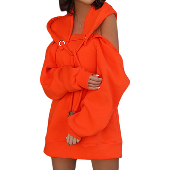 Autumn Winter Hoodie Dresses For Women Off-Shoulder Sweater Shirts Casual Oversize Vestidos Female Hoody Tops 17