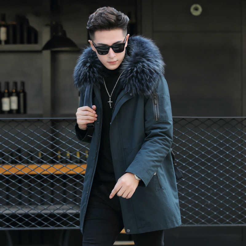 Men Parka Real Fur Coat Warm Rex Rabbit Fur Liner Long Coat Men Racoon Fur Collar Male Jacket ML-XGH183615 KJ1182