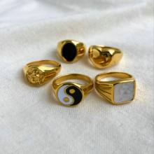 Gold Plated 316L Stainless Steel Shell Rings For Women Heart Shape Yin Yang Chunky Finger Rings Waterproof Jewelry