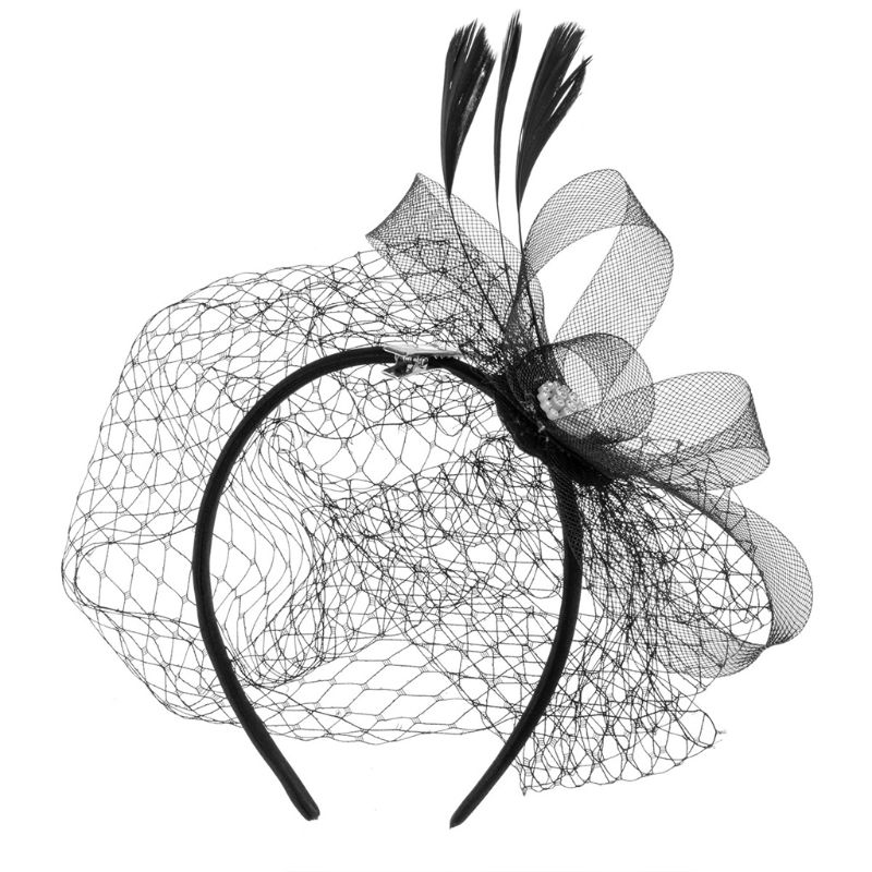 Women Fascinator Party Veil Feather Hairclip Hat Diamond Mesh Net Wedding Bridal Hairband Female Hair Decorative Accessories