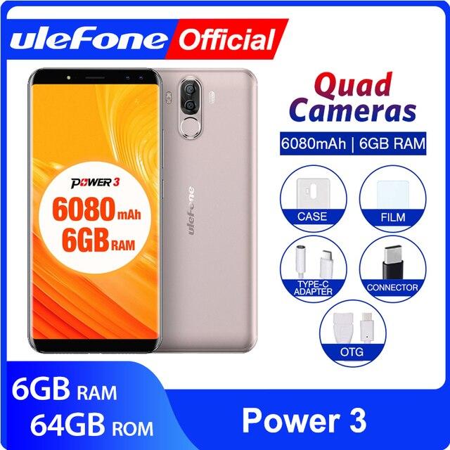 "Ulefone Power 3  Mobile Phone 6GB+64GB  6.0""  Smartphone 6080mAh Octa Core 21MP Quad Camera Face ID 4G Android"