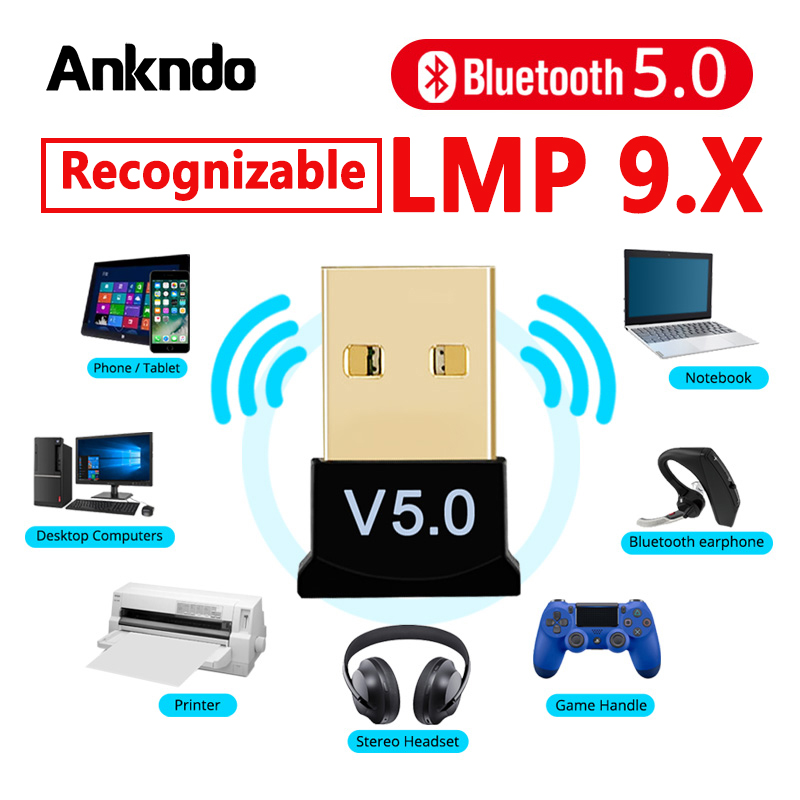Bluetooth 5.0 Receiver USB Wireless Bluetooth Adapter Audio Dongle Sender For PC Computer Laptop Earphone LMP9.X USB Transmitter