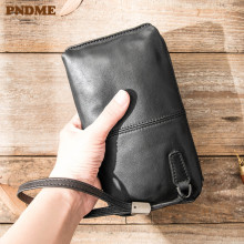 PNDME black genuine leather men's women's clutch bag casual simple wallet high quality cowhide luxury phone bag female purse