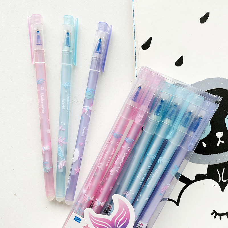 2pcs Underwater World Mermaid Erasable Gel Pen Rollerball Pen School Office Supply Student Stationery 0.5mm Blue Ink
