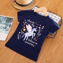 Kids Shirts Unicorn Girls Tops Short-Sleeve Children Summer Cotton for Tees 3-6/7-8y