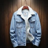 2019 Men Light Blue Winter Jean Jackets Outerwear Warm Denim Coats New Men Large Size Wool Liner Thicker Winter Denim Jackets