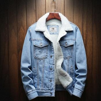 2020 Men Light Blue Winter Jean Jackets Outerwear Warm Denim Coats New Men Large Size Wool Liner Thicker Winter Denim Jackets