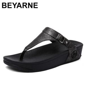 Image 1 - BEYARNE large sizes Heels peep Toe Summer womens Shoes Woman Sandals platform slippers Leisure resort beach flip flops E687