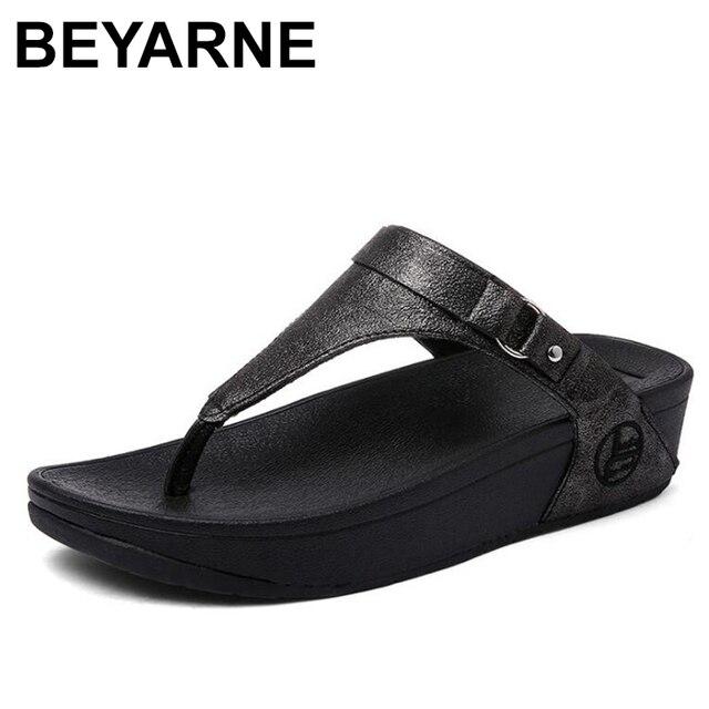BEYARNE large sizes Heels peep Toe Summer womens Shoes Woman Sandals platform slippers Leisure resort beach flip flops E687