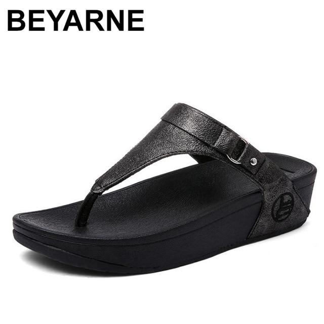 BEYARNE גדול גדלים עקבים פיפ הבוהן קיץ נעלי נשים אישה סנדלי פלטפורמת כפכפים פנאי נופש חוף כפכפים E687