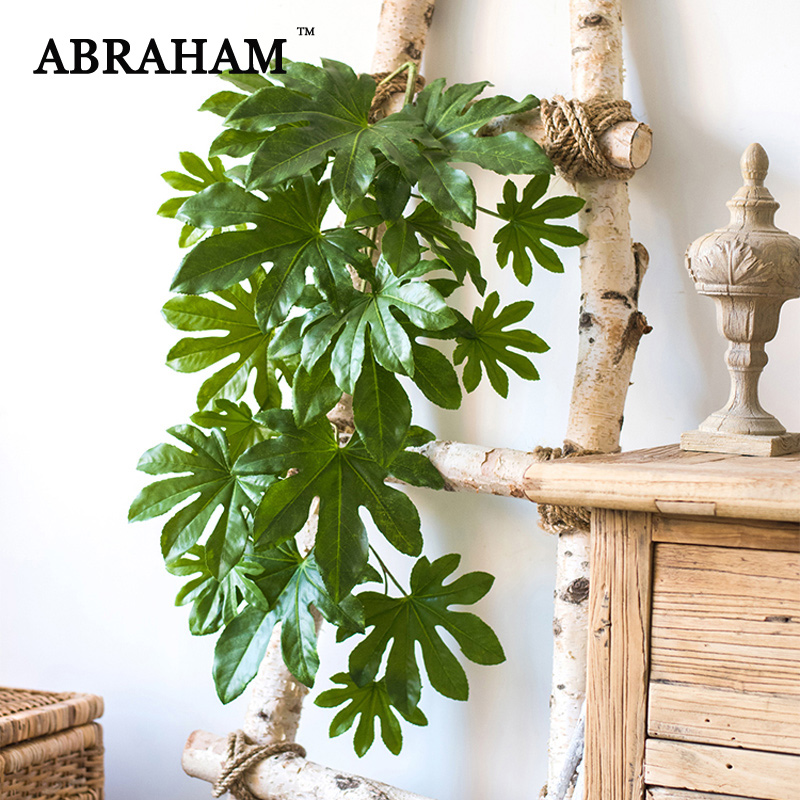 82cm Wall Hanging Monstera Leaves Rattan Artificial Plant Vine Tropical Fake Leaf Ivy Plastic Tree Foliage For Home Garden Decor