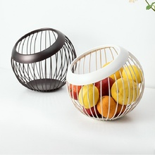 цена на Creative Wrought Iron Grid Fruit Basket Egg Storage Basket Living Room Kitchen Household Drain Hollow Design Vegetable Basket