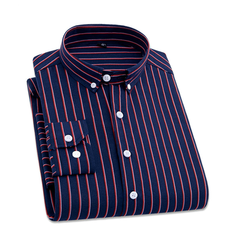 2019 Men Striped Shirts Casual Long Sleeved Mens Shirt 4XL Plus Size Business Man Shirt Male Social Dress Shirts Outwear RS-336