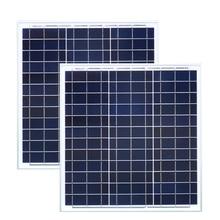 Panel Solar 40w 18v 2 Pcs  Battery Charger Placa Fotovoltaica 80w 24v Smartphone LED Street Light Portable Car Camp