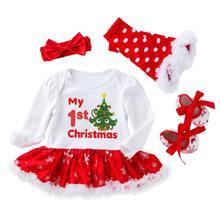 Newborn1st наряд для дня рождения Одежда Платье на первый день рождения для девочек Рождественская одежда; Рождественское кружевное платье комп...