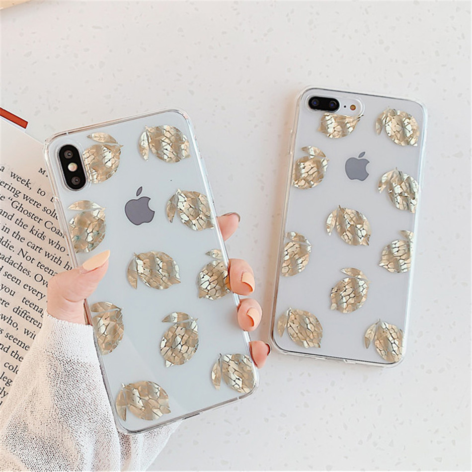 He597f8f1f86d47ae9cb204feccff36d8K USLION Glitter Gold Leaf Transparent Case For iPhone 11 Pro X XS Max XR 8 7 Plus 11 Clear Phone Back Cover Bling Pineapple Cases