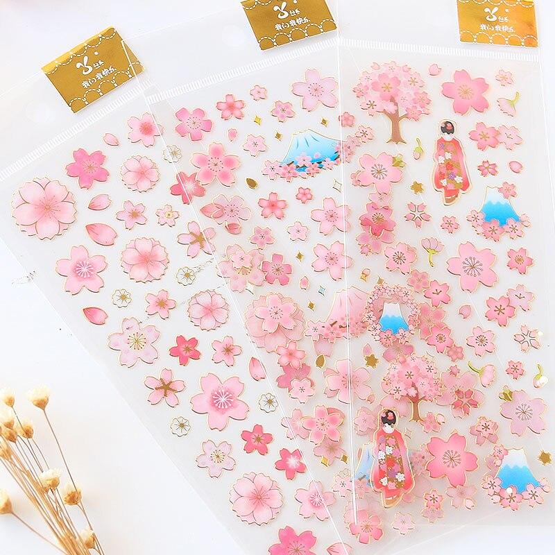 Japão dourado sakura flores adesivos decorativos adesivos adesivos para casa diy decoração diário papelaria adesivos de presente das crianças