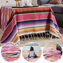 Mexican Tablecloth Rainbow Serape Blanket Wedding Birthday Party Table Cover Rectangle Desk Cloth Wipe Covers Yoga Beach Towel home practical fashion table flag beach towel mexican style blanket picnic blanket handmade striped tablecloth