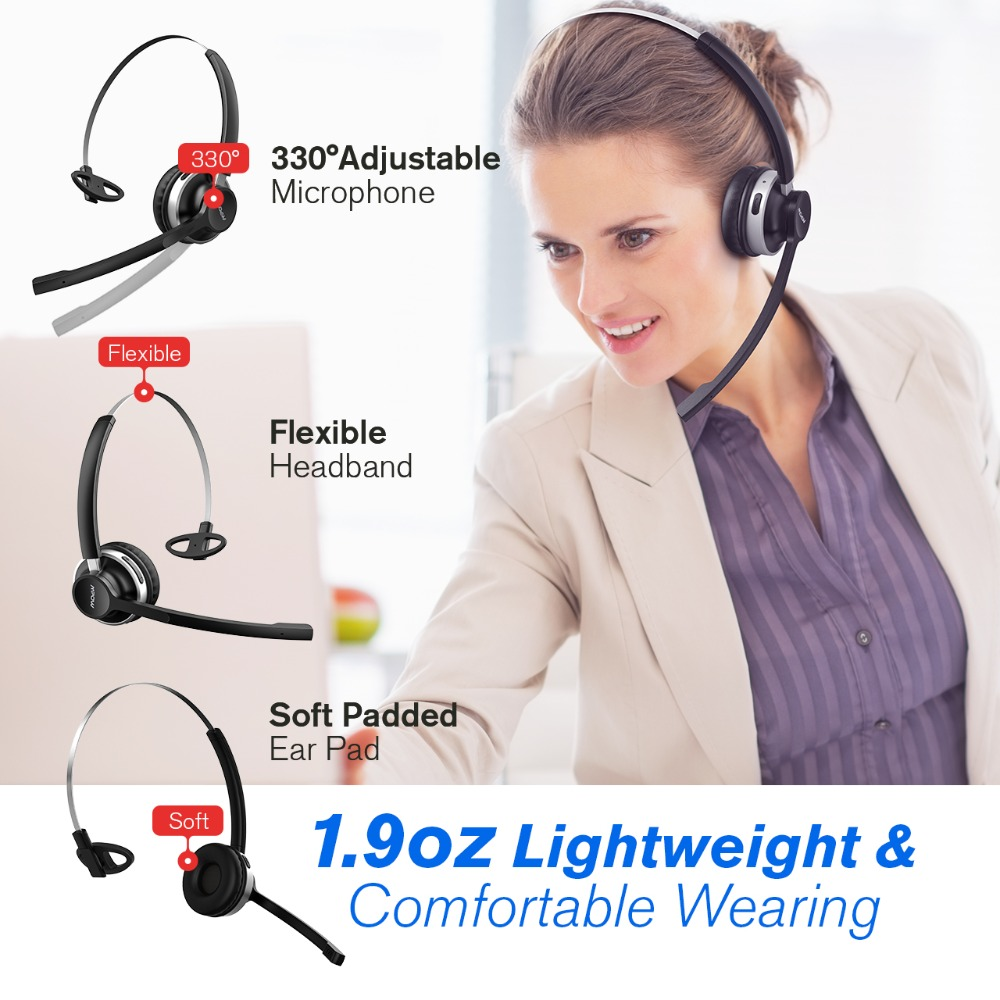 Mpow HC3 Bluetooth Headphones Crystal Clear Wireless Headphones With Dual Noise Canceling Microphones For Call Center&Trucker (3)