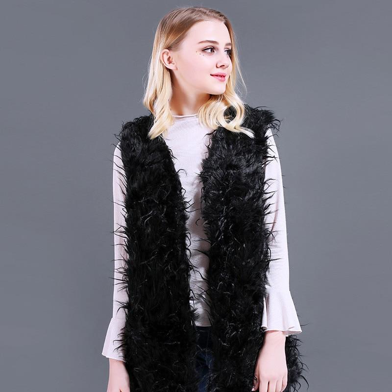 Focal20 High Street Lady Faux-fur Coat Solid Faux-Fur Coat Women Ostrich Vest V Neck Sleeveless Women Coat Jacket 1