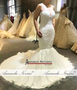 Image 4 - Sexy beading mermaid wedding dress with transparent nice back fish wedding dress