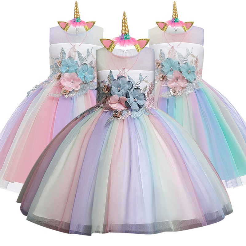 Flower Girl Wedding Banquet Unicorn Bridesmaid Colorful Dress Girl's Birthday Party Unicorn Dress Girl's Performanc Party