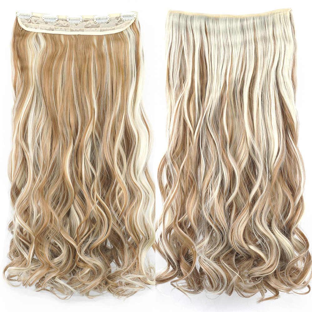 Soowee Lange Synthetische Haar Clip In Hair Extension Hittebestendige Haarstukje Natuurlijke Golvend Haar Stuk
