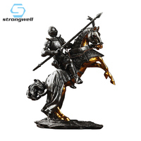 Strongwell Resin Knight Sculpture Ancient Rome Armor Warrior Figurines Miniaturfe Model Home Decoration Accessories Boys Gift