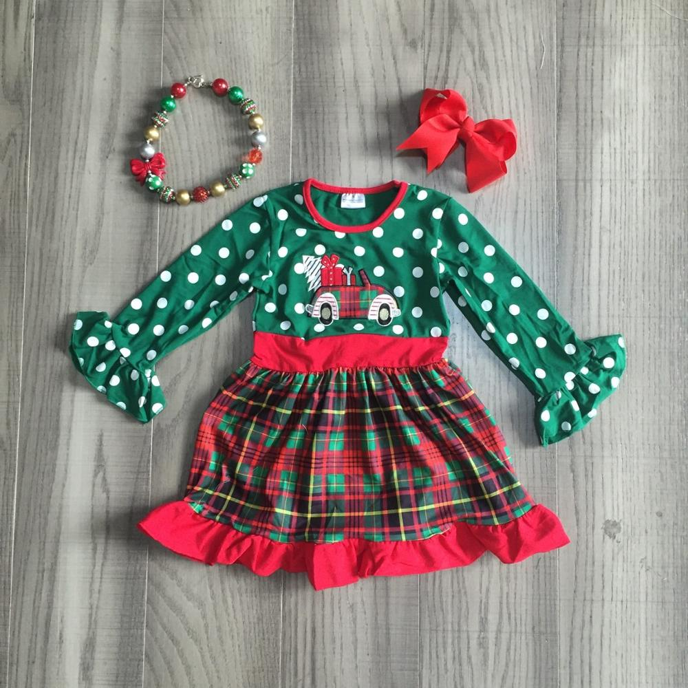 Girlymax Christmas truck dark green Fall/Winter baby girls plaid outfits pants set clothes ruffles boutique match accessories 3
